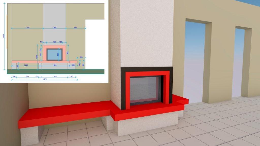 3D визуализация проекта камина для клиента его в доме